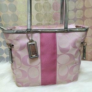 COACH Sis Signature Stripe Tote Pink/Silver 13280